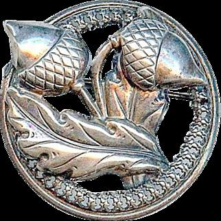 Vintage Retro 1940's Danecraft Sterling Silver Acorn Oak Leaf Brooch Pin