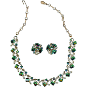 Vintage Lisner Emerald Green Rhinestone Necklace Earring Set