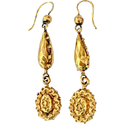 Fine Antique Victorian 15K Gold Drop Repousse Dangle Earrings