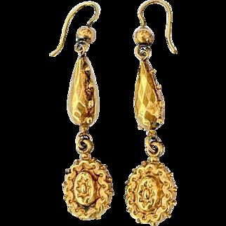 Fine Antique Victorian 15K Gold Drop Repousse Dangle Earrings