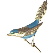 Big Egon Lauridsen Denmark Sterling Enamel Blue Bird Brooch Pin Mint