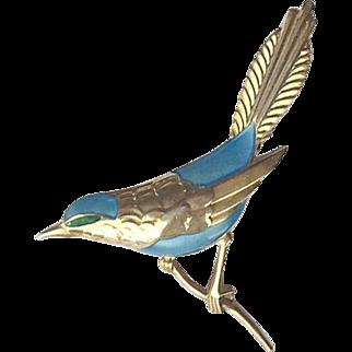 Big Egon Lauridsen Denmark Sterling Enamel Blue Bird Brooch Pin Mint