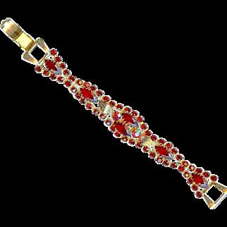 Vintage 1960s Deep Ruby Red Rhinestone Link Bracelet