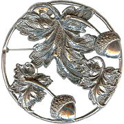 Art Deco Era Sterling Silver Acorn Oak Leaf Repousse Brooch Pin
