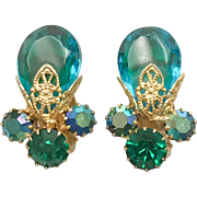 Vintage Juliana D&E Aqua Blue AB Crystal Rhinestone Earrings 1960s