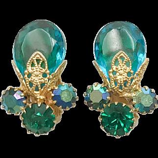 Vintage Juliana D&E Aqua Blue AB Crystal Rhinestone Earrings 1960s