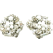 Retro Vintage Eugene Summer White Crystal Rhinestone  Earrings Bridal