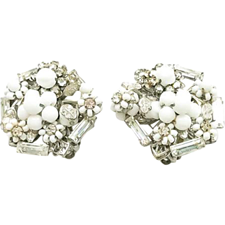 Retro Vintage Eugene Summer White Crystal Rhinestone Earrings Bridal