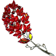 Vintage Lisner Red Leaf Autumn Spray Brooch Pin