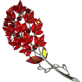 Vintage Lisner Red Leaf Autumn Spray Brooch Pin