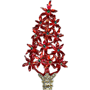Vintage Tancer Red Poinsettia Christmas Xmas Tree Brooch Pin