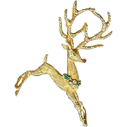 Vintage Mylu Flying Rudolf Reindeer Christmas Brooch Pin