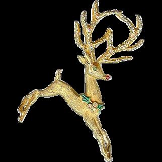 Vintage Mylu Flying Rudolf Reindeer Christmas Brooch Pin
