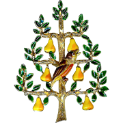 Rare Vintage Cadoro Partridge in a Pear Tree Christmas Brooch Pin
