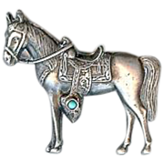 Vintage Maisels Sterling Silver Turquoise Horse Brooch Pin Fred Harvey