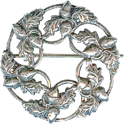 Charming C 1940 Sterling Silver Acorn Fall Wreath Brooch Pin