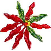 Big 1960s Original by Robert Red Green Enamel Christmas Poinsettia Brooch Pin