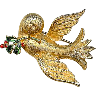 Scarce 1960s MYLU Dove of Peace Christmas Holly Brooch Pin