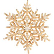 Vintage Crown Trifari Winter Snowflake Brooch Pin