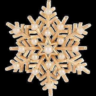 Vintage Crown Trifari Winter Snowflake Brooch Pin