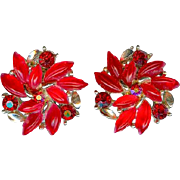 Charming Vintage Lisner Red Leaf and Rhinestone Christmas Earrings