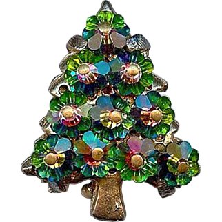 Vintage Swarovski Watermelon Margarita Crystal Rhinestone Christmas Tree Brooch Pin