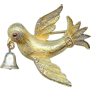 Vintage Jeanne Dove of Peace Ringing Bell Christmas Brooch Pin