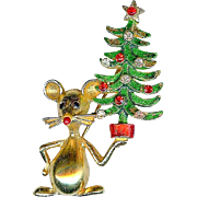 Vintage 1960s MYLU Christmas Mouse Holding Tree Brooch Pin