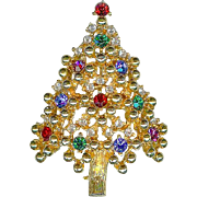 Vintage Eisenberg Not Ice Crystal Rhinestone Christmas Tree Brooch Pin