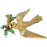 Vintage 1960s MYLU Christmas Dove of Peace Holly Brooch Pin
