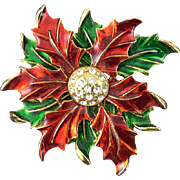 Eisenberg Ice Christmas Red Green Enamel Poinsettia Rhinestone Brooch Pin