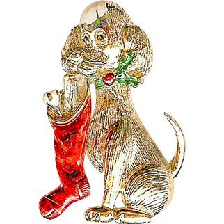 Vintage Gerrys Christmas Red Stocking Dog Holly Brooch Pin