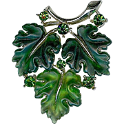 Vintage Lisner Green Jelly Rhinestone Oak Maple Leaf Brooch Pin