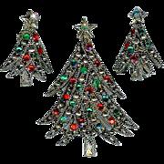Festive 1960s Hollycraft Christmas Tree Red Green Brooch Earring Set