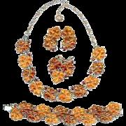 Fall Lisner 1950's Oak Leaf Amber Topaz Lucite Necklace Brooch Bracelet Earrings Parure