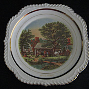 Harker Pottery Co. Royal Gadroon Shape Currier and Ives Autumn Plate