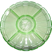Green Depression Glass Relish Tray