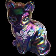 Fenton Floral on Plum Carnival Sitting Cat Figurine