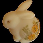 Fenton Daisies on Custard Satin Glass Bunny Figurine