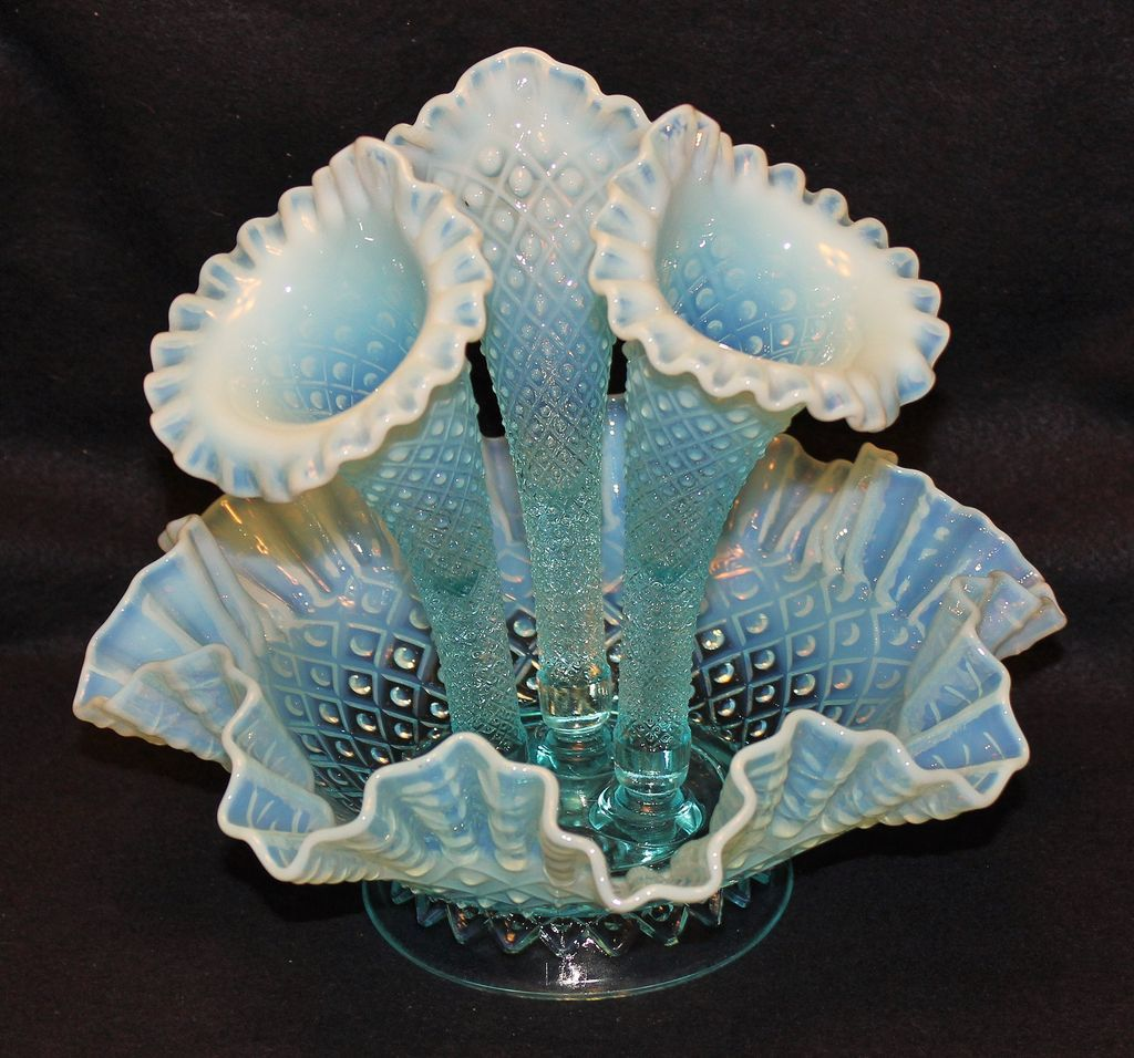 large fenton blue opalescent diamond lace epergne sold on. Black Bedroom Furniture Sets. Home Design Ideas