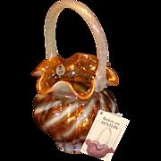 Fenton Amber Opalescent Spiral Basket