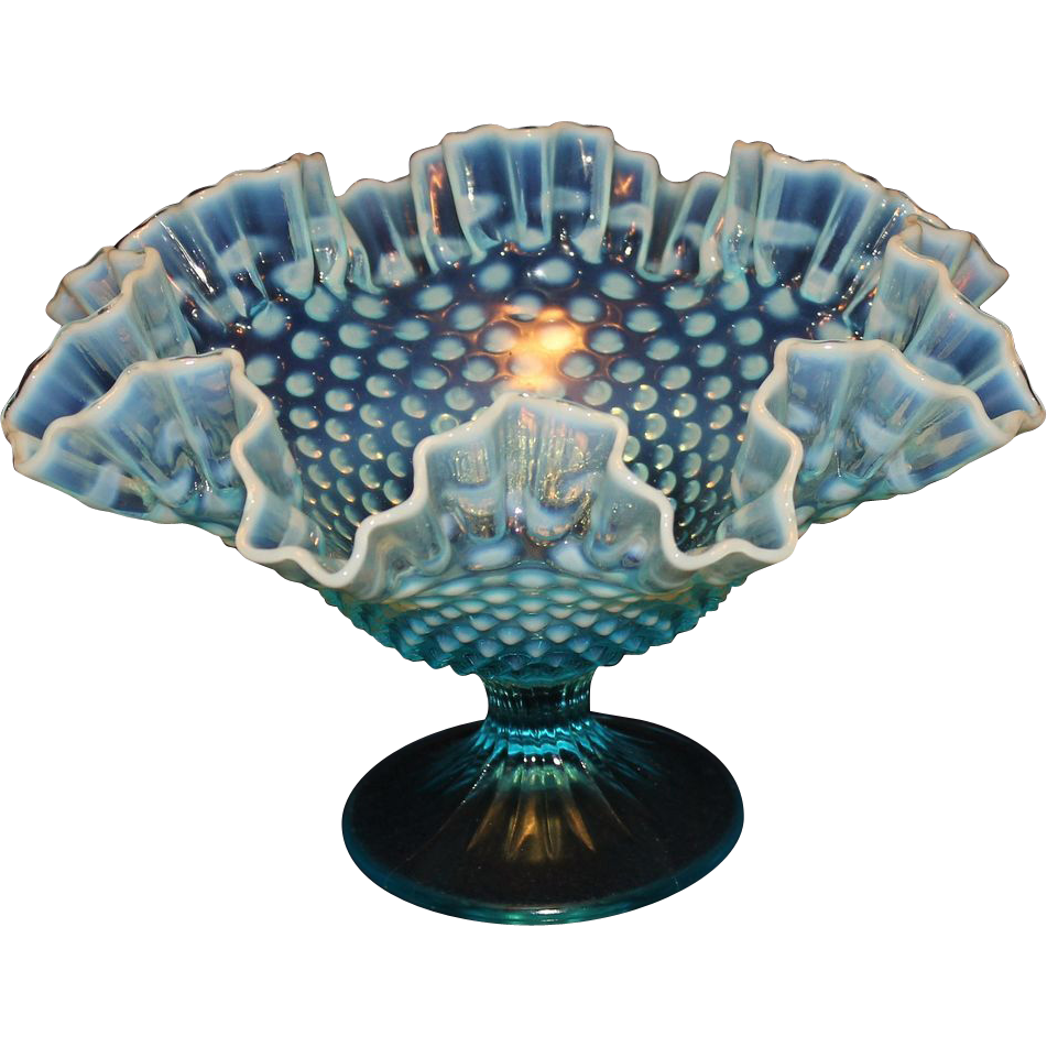 Fenton Blue Hobnail Opalescent Large Compote Sold On Ruby Lane