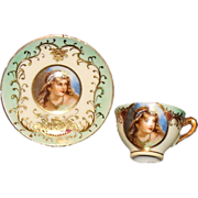 Striking Miniature Portrait Cup & Saucer