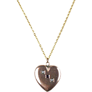 Sweet Vintage Deco 10K Gold Valentine  Heart Pendant with Stones on Chain