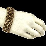 Unique Victorian Rose GF Triple Strand Link Bracelet  Top Quality Design and Workmanship