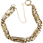 RARE Victorian 10K Gold Chunky Watch Chain Bracelet  Bar & Circle Design  Special