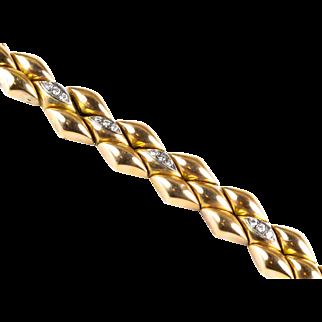 Vintage Retro 18K Rose Gold Diamond .84 ctw Bracelet  3D Gorgeous Design  Top Quality