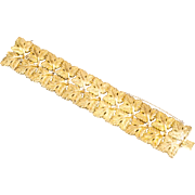 Vintage Italian Big & Bold 18K Gold Bracelet  Leaves 1.4 Inches Wide  Heavy  Top Quality