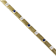Vintage Art Deco 14K Gold Bracelet Diamonds Sapphires   Lovely Classic Design  Top Quality