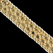Vintage Big & Bold Wide 14K Gold Bracelet  Hearts  Heavy 44gr  Top Quality